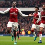 Arsenal's Danny Welbeck celebrates scoring his side's winner.