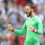 Manchester United goalkeeper David De Gea celebrates his side's second goal of the game
