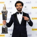 Liverpool's Mohamed Salah poses with the PFA Player Of The Year Award Trophy.