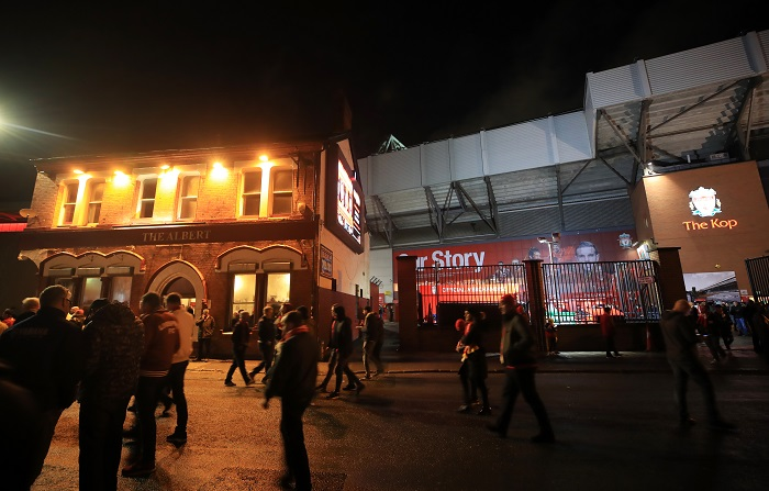 A view of The Albert pub on Walton Breck Road outside Anfield.