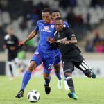 Thembinkosi Lorch of Orlando Pirates challenged by Grant Kekana of Supersport United