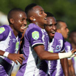 Lebohang Maboe celebrates his goal with teammates