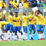 Mamelodi Sundowns celebrate their third goal in front of the fans.