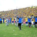 Mamelodi Sundowns players celebrate winning the league.