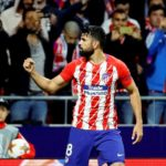 Atletico Madrid's forward Diego Costa celebrates after scoring.