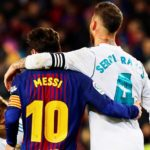 FC Barcelona's striker Lionel Messi and Real Madrid's defender Sergio Ramos.