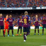 Andres Iniesta prior to his final game for Barcelona at Camp Nou