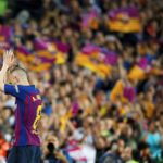 Andres Iniesta leaves the pitch in his last match for Barcelona.