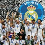 Real Madrid captain Sergio Ramos lifts the trophy after the team won the UCL final.