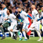 Real Madrid players celebrate at the end of the semi-final.
