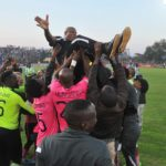 Black Leopards celebrating their promotion.