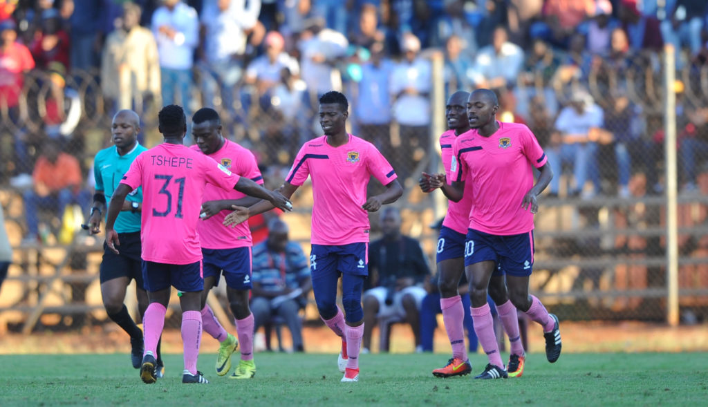 Phathutshedzo Nange celebrates his goal with teammates