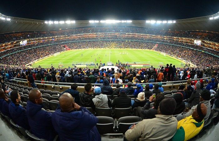 A packed FNB Stadium for the match between Mamelodi Sundowns and Barcelona.