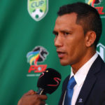 Maritzburg United coach Fadlu Davids addressing the media