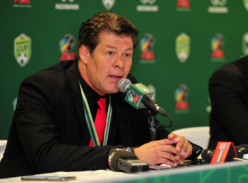 Free State Stars coach Luc Eymael addressing the media