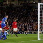 Marcos Rojo is too late to block Pascal Gross' header