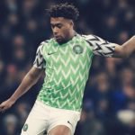 Alex Iwobi in the Nigeria World Cup kit.