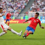 Dusan Tadic of Serbia in action against Francisco Calvo of Costa Rica.