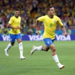 Coutinho of Brazil celebrates after opening the scoring against Switzerland.