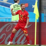 Dries Mertens of Belgium celebrates after opening the scoring against Panama.