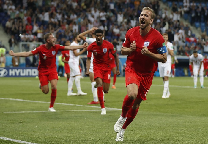 Harry Kane of England celebrates after scoring the winning goal against Tunisia.