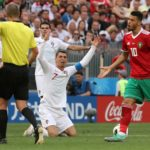 Cristiano Ronaldo of Portugal reacts after being fouled against Morocco.