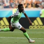Ahmed Musa of Nigeria celebrates after scoring his second goal against Iceland.