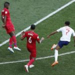 Jesse Lingard of England scoring the third goal against Panama.