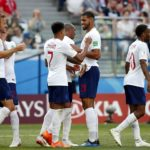 England players celebrate after scoring the sixth goal against Panama.