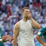 Goalkeeper Manuel Neuer of Germany reacts after his side's World Cup elimination.