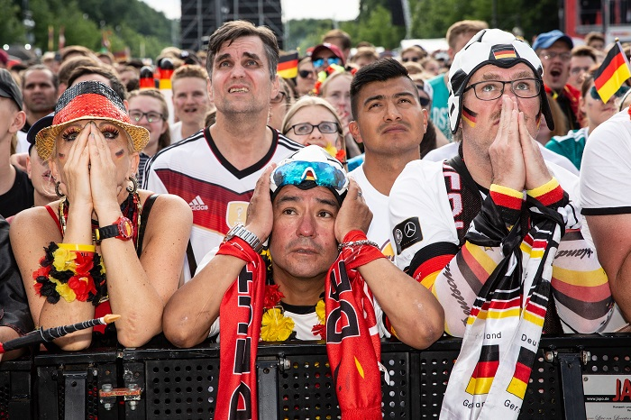Germany fans react to their teams elimination.