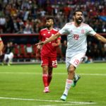 Diego Costa celebrating his goal against Iran