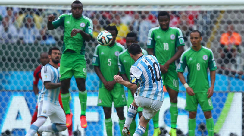 4a69e6250 Lionel Messi of Argentina in action against Nigeria at the 2014 Fifa World  Cup.