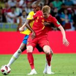 Kevin De Bruyne of Belgium and Fernandinho of Brazil battle for the ball.