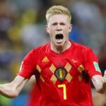 Kevin De Bruyne of Belgium celebrates his side's World Cup progression.