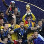 Players of France celebrate after winning the FIFA World Cup 2018