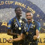 Paul Pogba and Kylian Mbappe of France celebrate winning the World Cup.