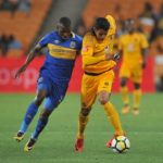Leonardo Castro of Kaizer Chiefs tackled by Thamsanqa Mkhize of Cape Town City.