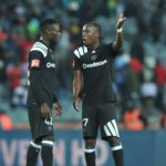 Augustine Mulenga of Orlando Pirates with teammate Justin Shonga.