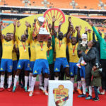 Mamelodi Sundowns celebrates lifting the 2018 Shell Helix Cup