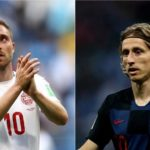 Christian Eriksen of Denmark (Left) and Luka Modric of Croatia (Right).