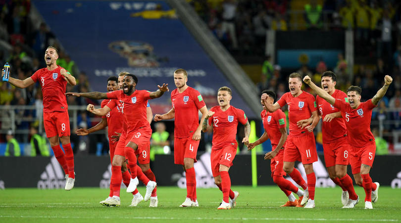 England players celebrating their penalty shoot-out victory over Colombia.