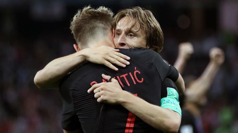 Ivan Rakitic and Luka Modric of Croatia.