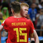 Thomas Meunier and Kevin De Bruyne of Belgium.