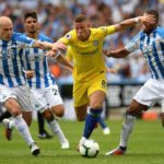 Ross Barkley of Chelsea battles for the ball.