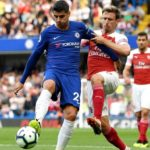Alvaro Morata of Chelsea and Nacho Moneral Arsenal.