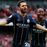 Bernardo Silva and Raheem Sterling of Manchester City.