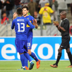 Teko Modise celebrates with goalscorer Roland Putsche