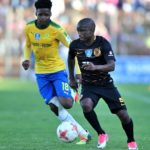 Siphesihle Ntiya-Ntiya of Kaizer Chiefs challenged by Keabetswe Mokwena of Mamelodi Sundowns.