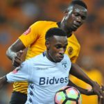 Mxolisi Macuphu of Bidvest Wits challenged by Erick Mathoho of Kaizer Chiefs